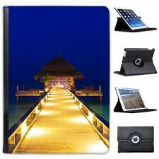 Gorgeous Water Cafe On Deep Blue Water At Night Folio Leather Case For iPad Air