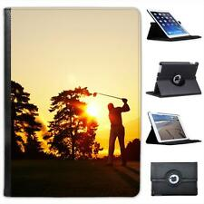 Silhouette of Golfer Swinging Club on Golf Course Leather Case For iPad Air