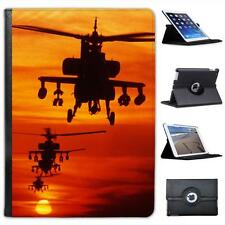 Four AH-64 Apache Helicopters Fly in Formation at Dusk Leather Case For iPad Air