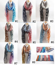Womens Long Voile Print Scarf Floral Neck Sunscreen Wrap Shawl Scarves