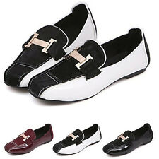 New Women's Fashion Metal H Slip On Square Toe Flats Casual Loafers Retro Shoes