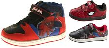 Kids Boys Spiderman Velcro Trainers Lace Up Hi Top Boots Sports Shoe Size UK 7-1
