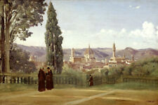 VIEW OF FLORENCE FROM THE BOBOLI GARDENS ITALY PAINTING BY CAMILLE COROT REPRO