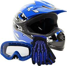 Kids Motocross Youth ATV Helmet, Blue Gloves and Goggles Motorcycle DOT