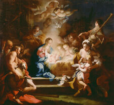 ADORATION OF THE SHEPHERDS BABY JESUS ANGELS PAINTING BY SEBASTIANO CONCA REPRO