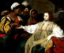 THE FORTUNE TELLER READING HAND OF LADY 1626 PAINTING BY NICOLAS REGNIER REPRO