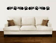 Cat Paw Prints Fish Bones Border Vinyl Decal Wall Art Stickers Letters Words