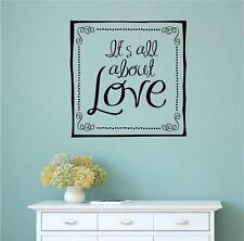 It's All About Love Vinyl Decal Wall Art Stickers Letters Words Home Decor Gift