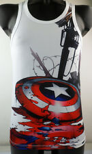 White Tommy Tank Top Mens Captain America Shield Sleeveless Shirt Gun Vest #545