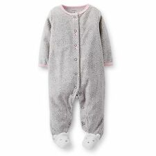 Carters Newborn 3 6 9 Months Fleece Sleep & Play Pajama Baby Girl Clothes Gray