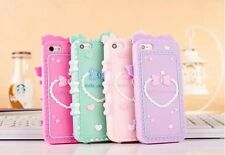 Womens 3D Cute Soft Silicon Skin Cover Case Protective For Apple iPhone 5 5S
