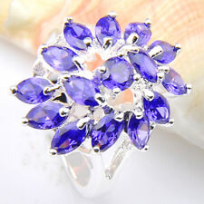 Fashion Mystic Lovely Pink Topaz Amethyst Gemstone Silver Wedding Ring  Jewelry