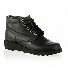 Kickers Hi Youth Black Boys Girls Leather Formal School Boots Laces Shoes-3 To 6