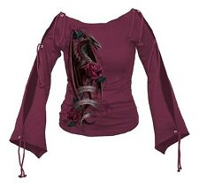 Spiral Direct Dragon Of The Roses Purple Boat Neck Long Sleeved Top Shirt
