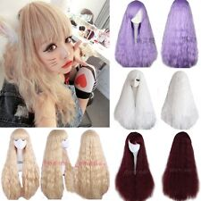Hot Fashion Colorful Long Hair Curly Wavy Corn-hot Full Wigs Cosplay Costume Wig