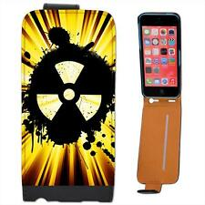 Grunge Nuke Yellow Black Leather Flip Case for Apple iPhone 5C