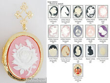 Large oval locket, flower & animal cameos, metal connectors, necklace option