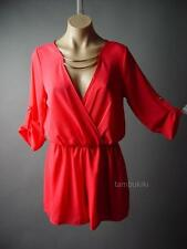Coral Faux Wrap Top Gold Collar Dress Shorts Playsuit Made In USA 95 df Romper M