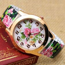 Elegant Round Dial Flower Flexible Steel Band Quartz Wrist Watch Women Lady Gift