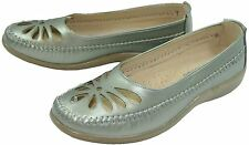 Boulevard -Ladies Punched Summer Casual Shoes with Comfort Leather Sock - PEWTER