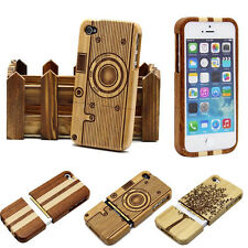 Multi-Pattern Real Natural Wood Back Hard Case Cover For iphone 4 4S 5 5S & Pen