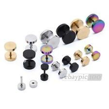 1 Pair Stainless Titanium Steel Mens Barbell Stud Earrings Goth Punk
