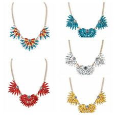 Hot Fashion Women Alloy Acrylic Flower Statement Collar Cluster Necklace Jewelry