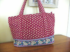 BEAUTIFUL RED COTTON BAG WITH YELLOW PANSIES-TWO SIZES- FREE SHIPPING