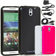 Frosted Matte Soft TPU GEL Case Cover w/ Charger Accessories For HTC Desire 610