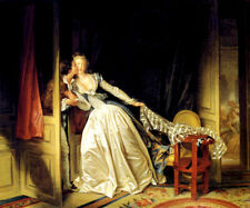 THE STOLEN KISS GIRL SURPRISED BY BOY 1786 FRENCH PAINTING BY FRAGONARD REPRO