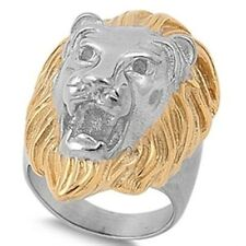 Stainless Steel Good Luck Magic Lion Head Gold Yellow Plated Wide Ring Size 8-16