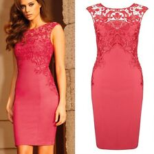 Women's Celeb Lace insert Zipper back Slit fitting Dress Evening Cocktail@YK002