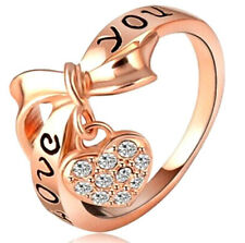 Fashion Heart Charm Words Marked 'Love you' Ring Gold Filled Crystal D2330-D2337