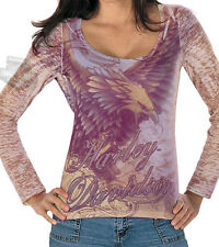 Harley-Davidson Womens Fierce Eagle Sublimated Long Sleeve Polyester T-Shirt