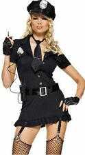 New Sexy Black Ladies Police Gothic Cop Costume Halloween Party Fancy Dress Up