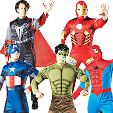 Deluxe Superhero Adults Marvel Fancy Dress Mens Book Halloween Party Costume New