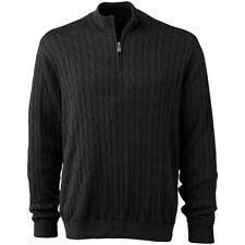 Oxford Golf Mens Crosshaven Cable Knit 1/4-Zip Wind Sweater