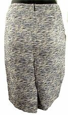 New Calvin Klein Shades of blue and ivory tweed textured straight pencil skirt