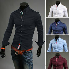 Fashion Men's Luxury Long Sleeve Casual Slim Fit Stylish Dress Shirts 5 Colors