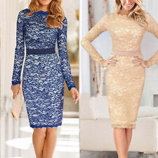New Women Vintage Elegant Crochet Lace Bodycon Cocktail Party Tunic Sheath Dress