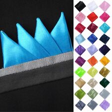 CLASSIC MEN POLYESTER SILK PLAIN SOLID COLOR POCKET SQUARE HANKIES HANDKERCHIEFS