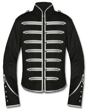 Banned Black Silver Parade Steampunk Gothic Emo Military Drummer Band Jacket