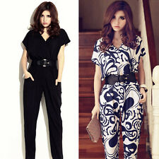 Lady's Short Sleeve V-neck Jumpsuit Pants Shirts Playsuit With Waistband Trendy