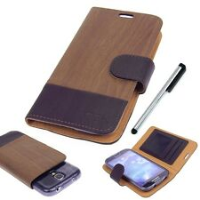 Brown Wooden Designer Slider ID Wallet Pouch for Samsung Galaxy S Phones Stylus