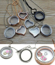 New Hot Charm Locket Pendant Heart Necklace Floating Living Memory Gilded Silver