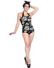 Banned Black White Skull Rose Tattoo 1 Piece Goth Psychobilly Swimsuit Tankini