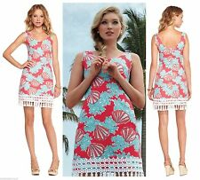 $198 Lilly Pulitzer Thompson Watermelon Coralina Shift Lace Trim Dress