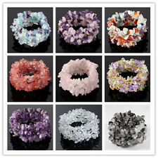 Womens Stretchy Gemstone Crystal Quartz Chip Beads Bracelet Bangle Cuff Fashion