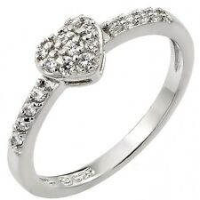 Sterling Silver Forever Love Heart Valentine's Day Gift Clear CZ Ring Sizes 3-11