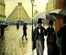 PARIS STREET RAINY DAY 1877 FRENCH IMPRESSIONIST PAINTING BY CAILLEBOTTE REPRO